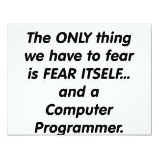 fear computer programmer 11 cm x 14 cm invitation card