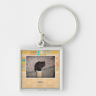 Fear me Silver-Colored square key ring