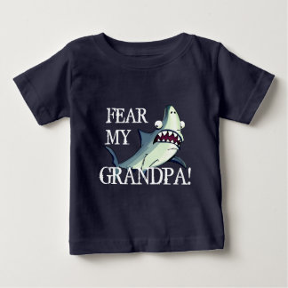 """Fear My Grandpa!"" with Scared Shark Baby T-Shirt"