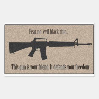 Fear No Evil Black Rifle Rectangular Sticker