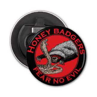 Fear No Evil Honey Badger Funny Animal Red Design Bottle Opener