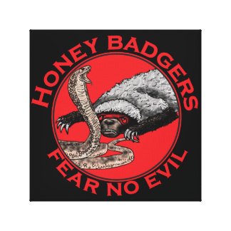 Fear No Evil Honey Badger Funny Animal Red Design Canvas Print