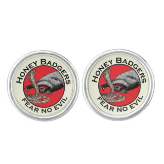Fear No Evil Honey Badger Funny Animal Red Design Cuff Links