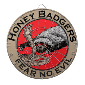 Fear No Evil Honey Badger Funny Animal Red Design Dartboard