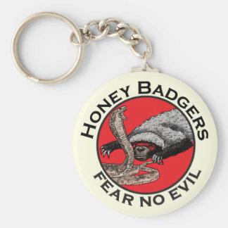 Fear No Evil Honey Badger Funny Animal Red Design Key Ring