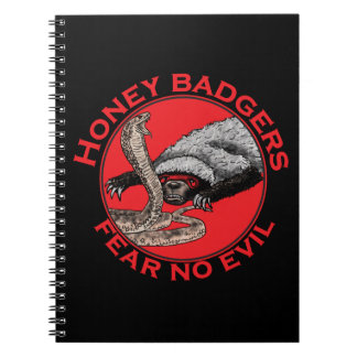 Fear No Evil Honey Badger Funny Animal Red Design Spiral Notebook