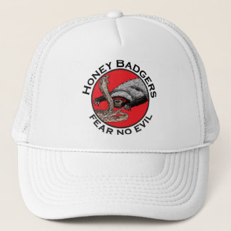 Fear No Evil Honey Badger Funny Animal Red Design Trucker Hat