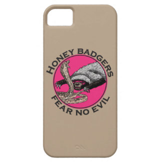 Fear No Evil Honey Badger Funny Pink Animal Design Barely There iPhone 5 Case