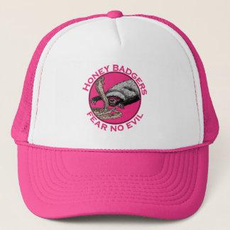 Fear No Evil Honey Badger Funny Pink Animal Design Cap