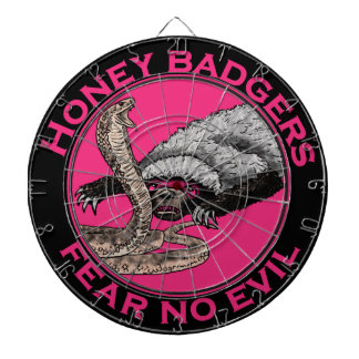 Fear No Evil Honey Badger Funny Pink Animal Design Dartboard