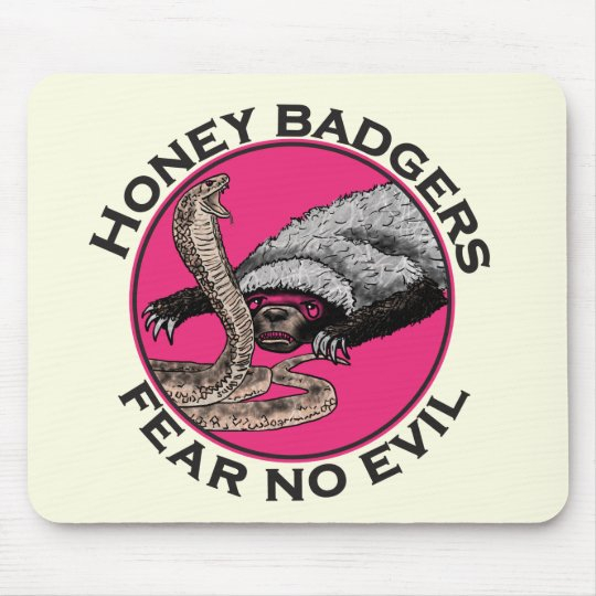 Fear No Evil Honey Badger Funny Pink Animal