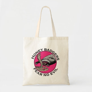Fear No Evil Honey Badger Funny Pink Animal Design Tote Bag