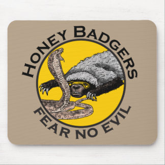 Fear No Evil Honey Badger Snake Animal Art Design Mouse Mat