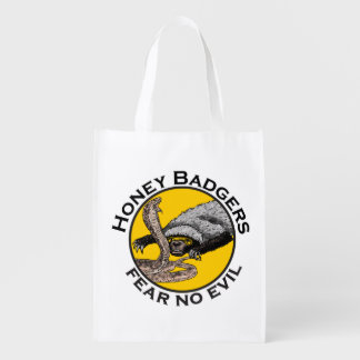 Fear No Evil Honey Badger Snake Animal Art Design Reusable Grocery Bag