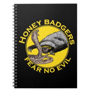 Fear No Evil Honey Badger Snake Animal Art Design Spiral Notebook