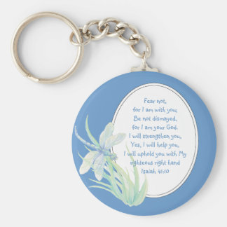 Fear Not, Isaiah Scripture Dragonfly Blue, Green Basic Round Button Key Ring