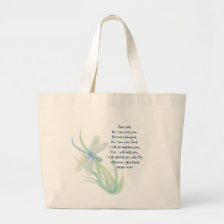 Fear Not, Isaiah Scripture Dragonfly Blue, Green Large Tote Bag