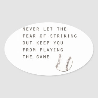 fear of striking out inspirational modern baseball oval sticker