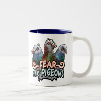 Fear the Pigeon by Mudge Studios Two-Tone Coffee Mug