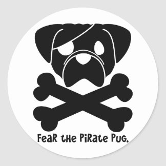 Fear the Pirate Pug Classic Round Sticker