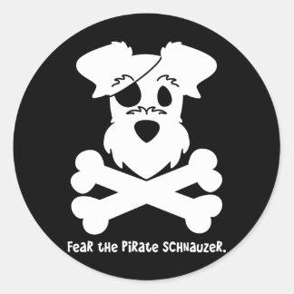 Fear the Pirate Schnauzer Classic Round Sticker