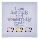 Fearfully and Wonderfully Made 12x12 Print - Blue Posters