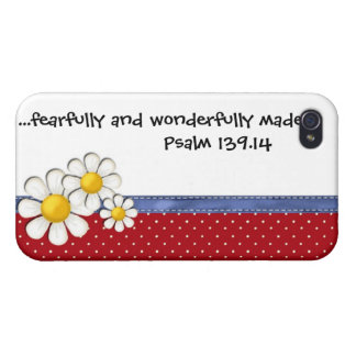 Fearfully and Wonderfully Made Denim Dots..Daisies iPhone 4 Cover