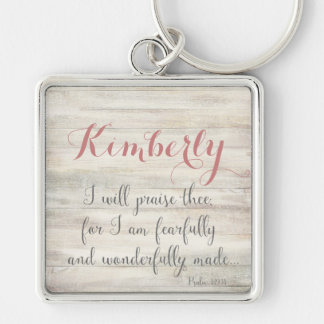Fearfully & Wonderfully Made - Ps. 139:14 Silver-Colored Square Key Ring