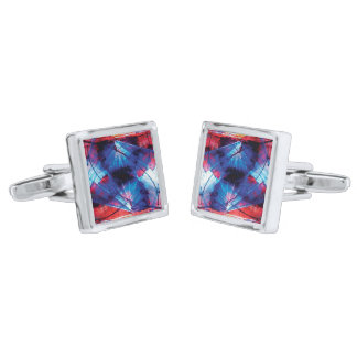 FEARLESS PURSUIT Vibrant Abstract Motion Silver Finish Cuff Links