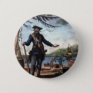 Fearsome Pirate Blackbeard! 6 Cm Round Badge