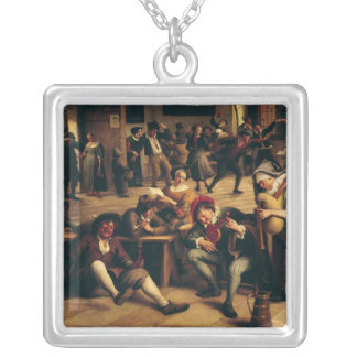 Feast in an Inn, detail of the central group Silver Plated Necklace