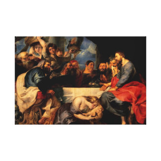 Feast of Simon & Mary Magdalene at Jesus' feet Stretched Canvas Prints