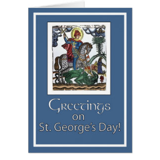 Feast of St. George, Blue Greeting Card