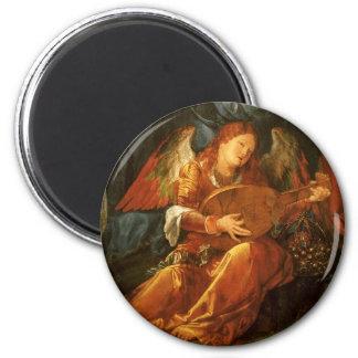 Feast of the Rose Garlands, Angel Albrecht Durer 6 Cm Round Magnet