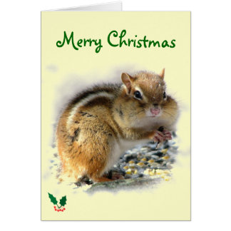 Feasting Chipmunk Christmas Card