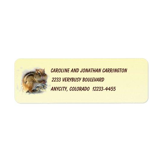 Feasting Chipmunk Return Address Label
