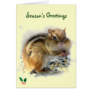 Feasting Chipmunk Season's Greetings Card
