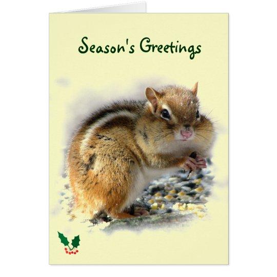 Feasting Chipmunk Season's Greetings Card