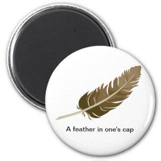 Feather 6 Cm Round Magnet