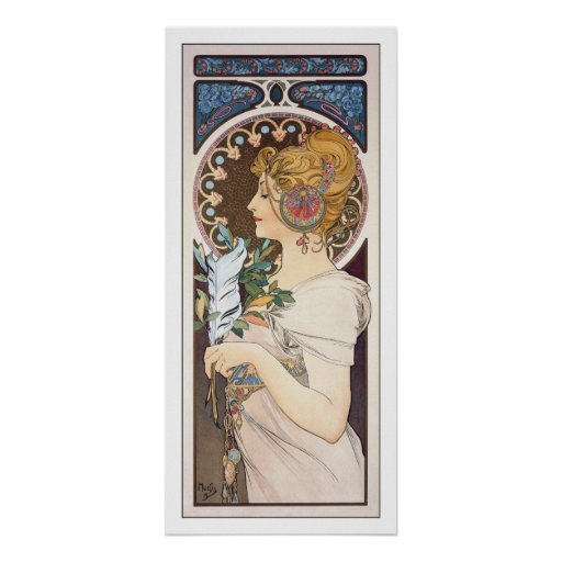 Feather - Alphonse Mucha - Vintage Art Nouveau
