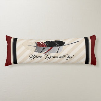 Feather and Stripes in Cream, Black and Maroon Body Cushion