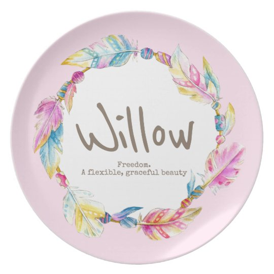 Feather bead watercolor name meaning willow pink plate