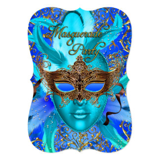 Feather Blue & Gold Mask Masquerade Party Invite