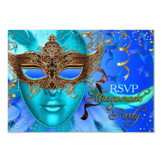 Feather Blue & Gold Mask Masquerade Party RSVP 3.5x5 Paper Invitation Card