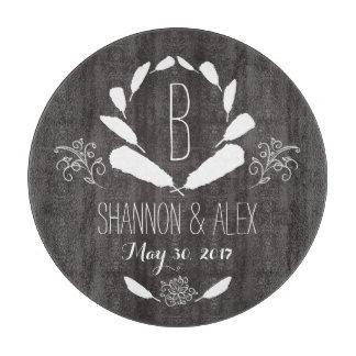 Feather Chalkboard Monogram Wedding Date Cutting Board