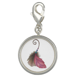 Feather Charm- silver plated