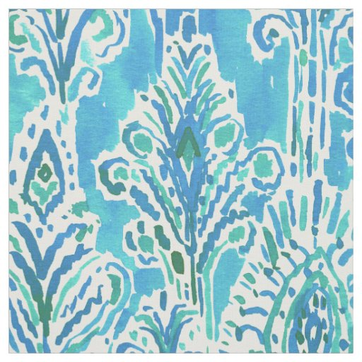 FEATHER FANCY Bold Boho Chic Ikat Watercolor Fabric