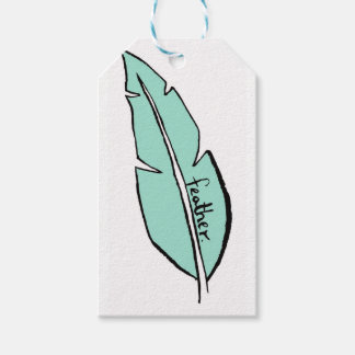 feather green gift tags