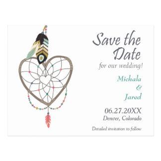 Feather Heart Dreamcatcher Save the Date Wedding Postcard