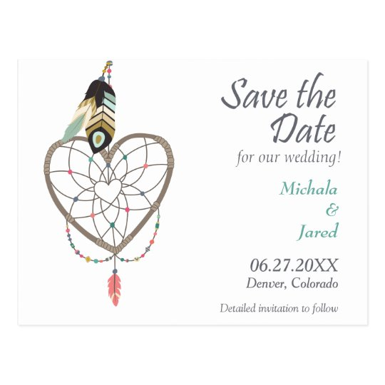 Feather Heart Dreamcatcher Save the Date Wedding Postcard